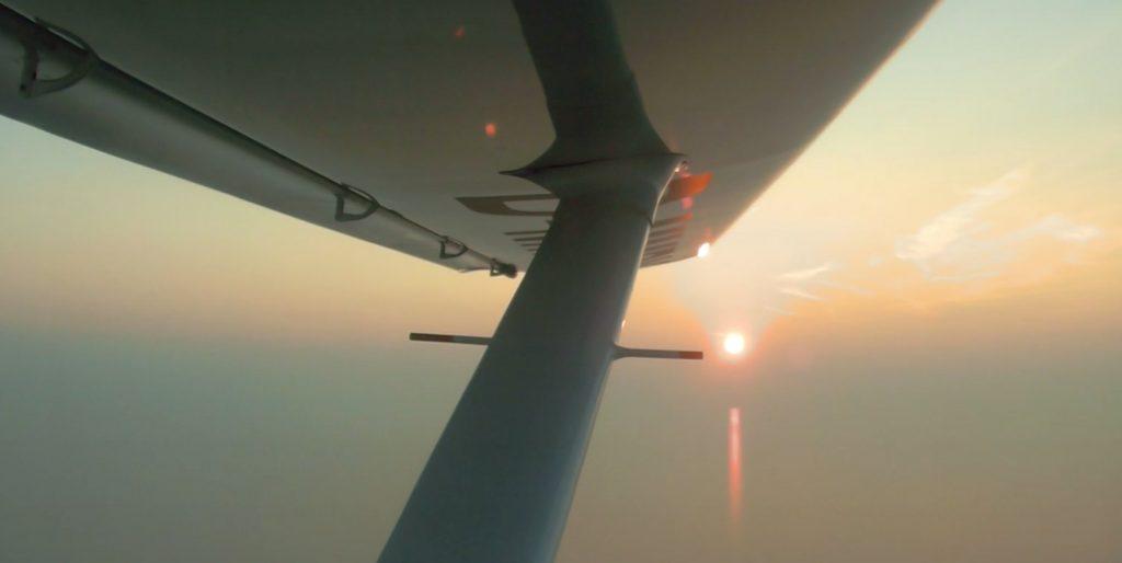 Sonnenuntergang aus Pilotensicht